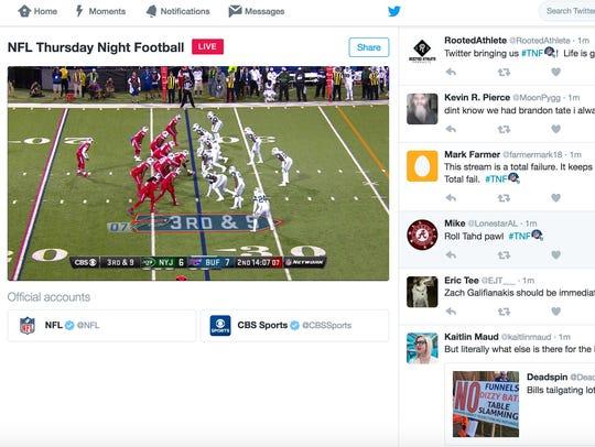 "A screen shot of ""Thursday Night Football"" broadcast"