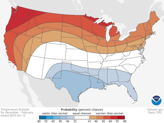 It may be warmer than normal in New Jersey this winter (December through February). Source: NOAA