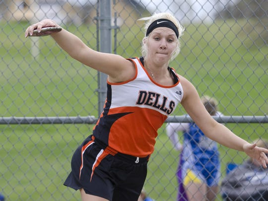 Mikaela Stofferahn of Dell Rapids spins before releasing the discus Tuesday, April 19, at Beresford during the Beresford/Alcester-Hudson Invitational. Stofferahn won the event with a toss of 121 feet. She also finished second in the shot put with a throw of 37 feet, 9 inches.