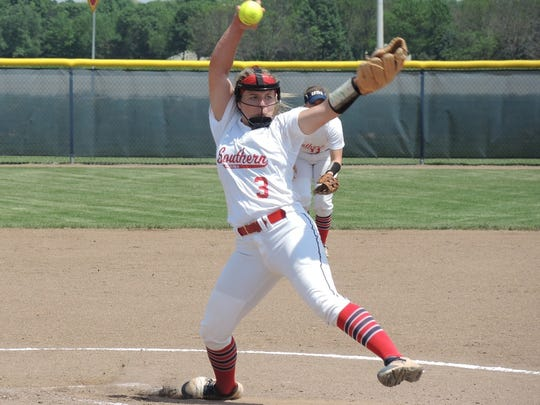 Jennifer Leonhardt pitches during the first game of last week's Midwest Super Regional.
