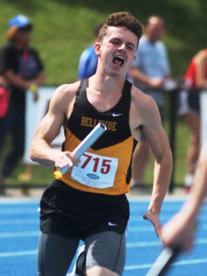 Bellevue junior Bryson Combs strains with effort in the 4x100 relay at state.