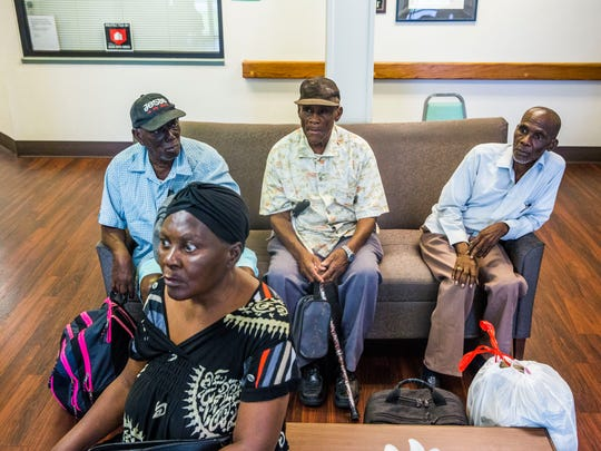 Residents wait to be evacuated by Immokalee Fire and Rescue from Cypress Run, an affordable housing retirement home, in Immokalee as Hurricane Irma approaches on Saturday Sept. 9, 2017.