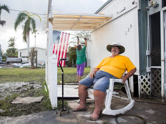 Lee and Lisa Marteeny's home hadsevere water and wind damage from Hurricane Irma in Plantation Island, an unincorporated area nearby Everglades City, shown on Tuesday, Sept. 12, 2017.