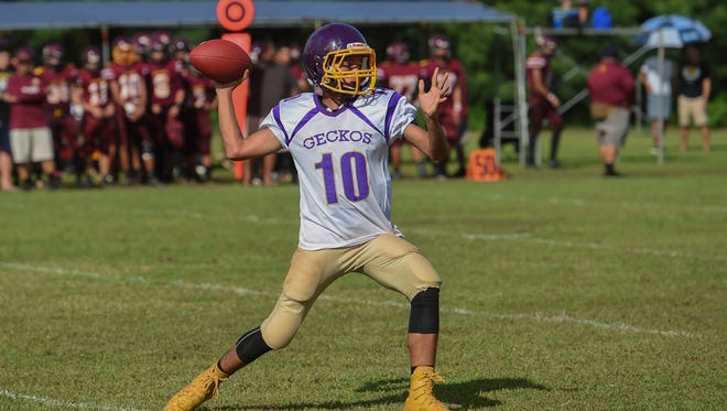 George Washington's Enrique Macias (10) cocks back for a throw against the Father Duenas Friars during their Interscholastic Football League game at the University of Guam Field on Oct. 7, 2017.