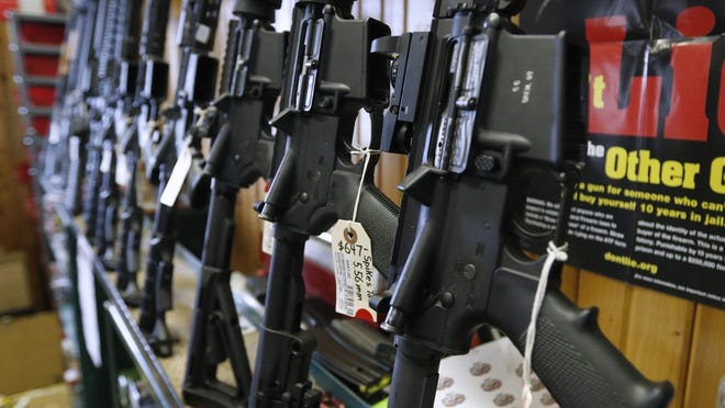 Semi-automatic AR-15 rifles are for sale at Good Guys Guns & Range on Feb. 15, 2018 in Orem, Utah.