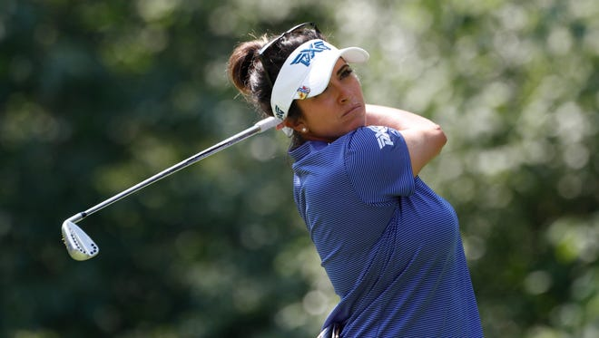 Gerina Piller tees off on the seventh hole during the second round of the KPMG Women's PGA Championship golf tournament at Olympia Fields Country Club - North on June 30.