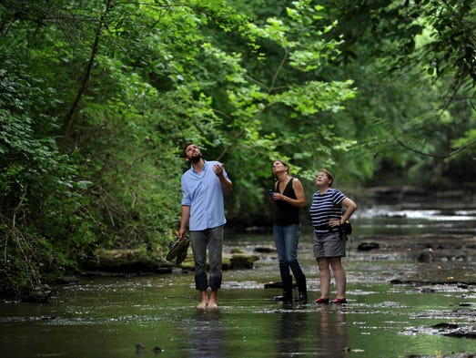 From left, Jed Grubbs, MeKayle Houghton of the Cumberland River Compact,  and Gina Hancock of the Nature Conserancy look at fowl that are peculiar to the creek which is  part of the Sevenmile Creek near Edmondson Pike on Thursday, June 26, 2014, in Nashville.