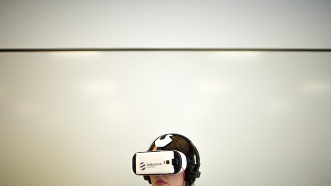 Virtual realty demonstrations at the University of Texas-Austin Campus, April 18, 2015.