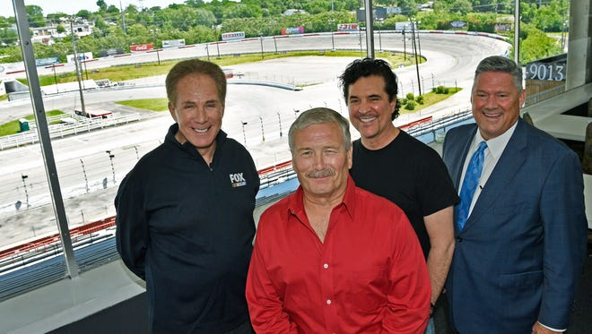 Darrell Waltrip, Scott Borchetta and Bill Freeman support Tony Formosa's proposal for a long-term contract to operate the racetrack.  Tuesday May 2, 2017, in Nashville, TN