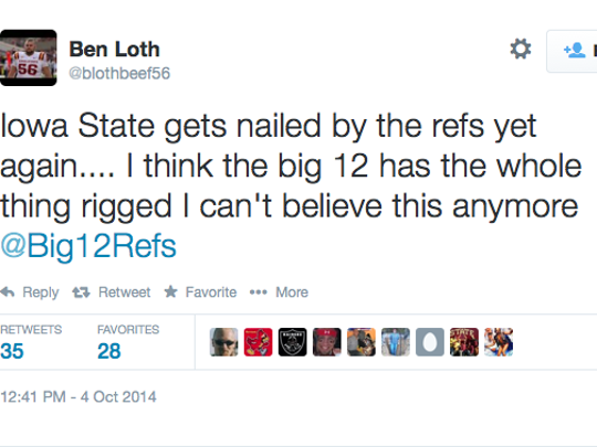 Ben Loth's tweet during the Iowa State-Oklahoma State game.