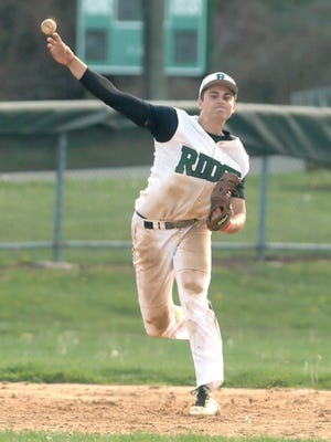 Keith Muccilli/ Staff photographer Ridge held on to the No. 3 spot in the Courier News Top 10 this week. Montgomery at Ridge baseball in Bernards on April 26, 2016. (Keith Muccilli/ Staff photographer)