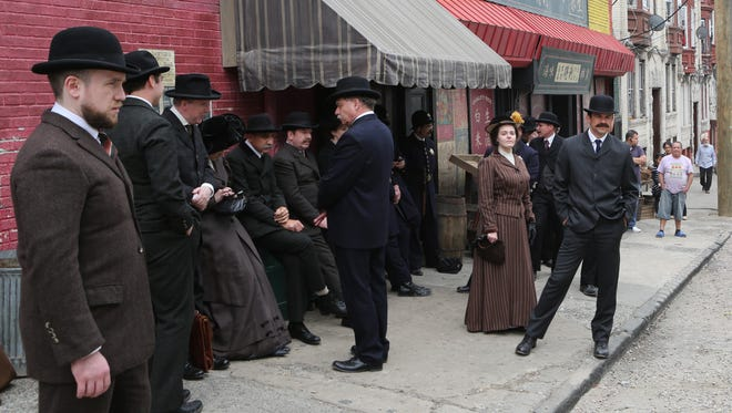 """Extras take their mark during filming for the  Cinemax series """"The Knick"""" in Yonkers"""
