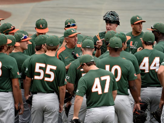 Miami coach Jim Morris, center, points as he talks to his team during practice at TD Ameritrade Park in Omaha, Neb., on Friday.