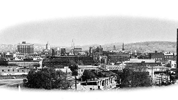 A contemporary photograph of the view from the North York Hill looking southward across the navigable Codorus Creek in 1966. Several of the old landmarks are discernible today. This view and the one above were brought out as part of the 225th celebration of York's founding in 1966.
