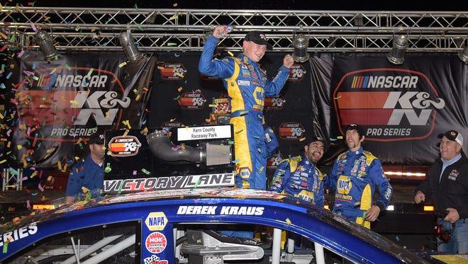 Derek Kraus celebrates in victory lane after winning the NASCAR K&N Pro Series West Bakersfield 175 on March 15 at Kern County Raceway Park in Bakersfield, Calif.