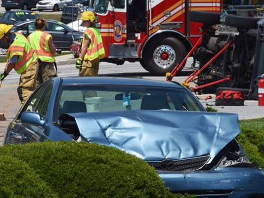 One of two vehicles involved in a crash in York Township.