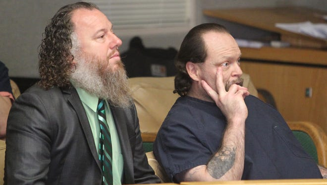 Anthony Baxter, right, appears in Shasta County Superior Court on Friday alongside defense attorney Shon Northam. Baxter will begin standing trial next week in a 2016 double-murder case.