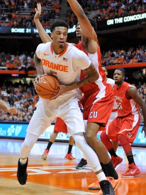 Chris McCullough looks to shoot during the first half of a game against Cornell on Dec. 31, 2014.
