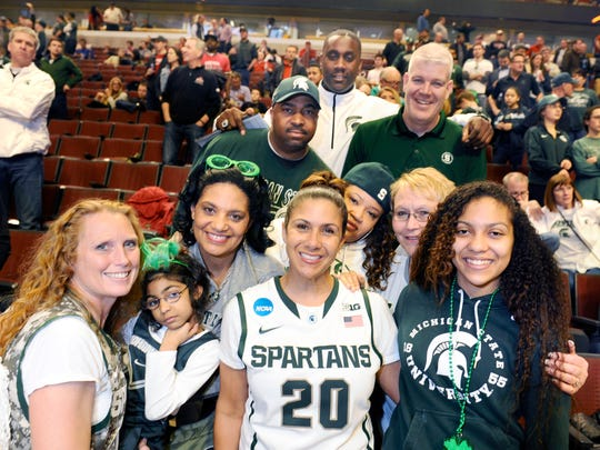 MSU basketball family members gather to cheer on the