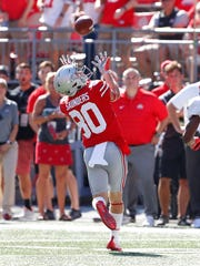 Ohio State walk-on C.J. Saunders reels in one of his six catches, good for 102 yards, against UNLV.