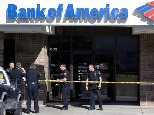 Police on the scene of a robbery at Bank of America on Kearney Street in 2011.