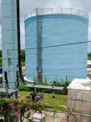 An Aug. 11 test of the water in the Chaot and Agana Heights replacement reservoir, shown here in a photo taken Monday, revealed chemical contamination of 120 parts per trillion — exceeding the 70 parts per trillion federal requirement for a health advisory. The contamination was entirely eliminated the same day, according to the water agency, after contaminated wells that supply some of the water in the tank were shut down.