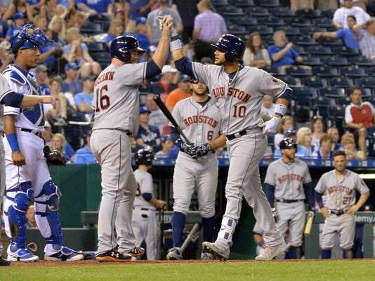 USP MLB: HOUSTON ASTROS AT KANSAS CITY ROYALS S BBA KC HOU USA MO