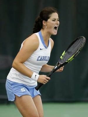 North Carolina's Jamie Loeb reacts to a point against Stanford's Carol Zhao during the NCAA women's singles tennis final Monday, May 25, 2015, in Waco, Texas.