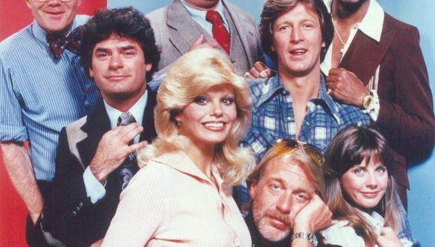 """Loni Anderson's (center front) most famous acting role came as the resourceful receptionist Jennifer Marlowe on """"WKRP in Cincinnati,"""" which ran from 1978 to 1982. She was offered the role when producers saw a poster of her in a red bikini. """"WKRP's"""" creator Hugh Wilson, admitted that Anderson got the part because """"she had the overall sex appeal of Marilyn Monroe."""""""