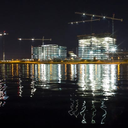Construction continues at Tempe Town Lake on October