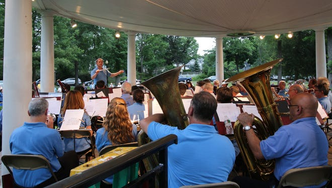 Members of the Westfield Community Band perform during a recent Concert.  The band will present is annual Summer Concert Series on Thursday evenings, June 23, June 30, July 7 and 14 in Mindowaskin Park, Westfield.  All concerts begin at 7:30 p.m.