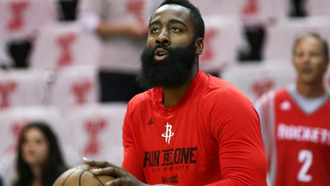Houston Rockets guard James Harden (13) warms up before game four of the second round of the 2017 NBA Playoffs against the San Antonio Spurs at Toyota Center.
