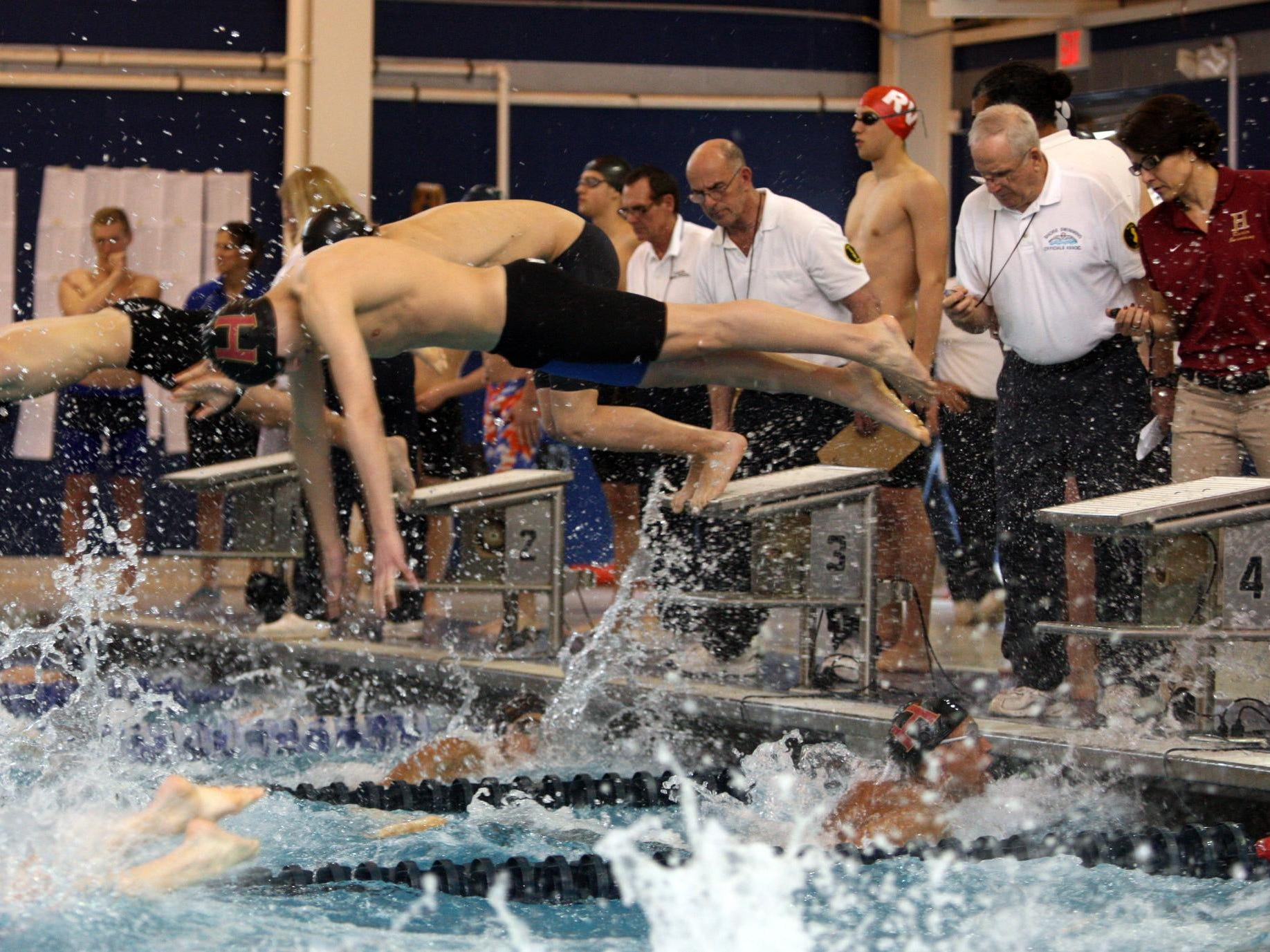 Matt Sanders of Hillsborough leaves the block to start the second leg after Sam Hendrix swam lead off during the 200 yard freestyle relay at the NJSIAA Meet of Champions on March 2, 2014, at the Gloucester County Institute of Technology.