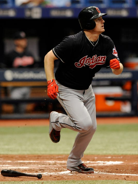Cleveland Indians' Jay Bruce watches his RBI-double to center off Tampa Bay Rays starter Austin Pruitt during the fourth inning of a baseball game ,Sunday, Aug. 13, 2017, in St. Petersburg, Fla. (AP Photo/Steve Nesius)