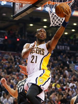 Indiana Pacers forward Thaddeus Young (21) scores a basket against the Toronto Raptors during the first half at the Air Canada Centre.