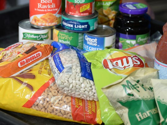 An example of what a family could receive from the food pantry at the Salvation Army is shown in this file photo.