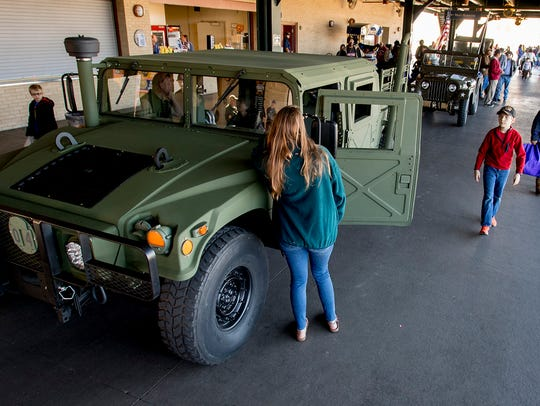 Historic military vehicles on display as the City of