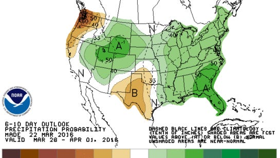 Above-average precipitation is likely over Michigan for at least the next week to 10 days, according to the National Weather Service Climate Prediction Center.