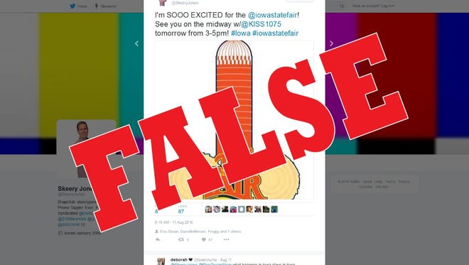 This fake logo, circulating on social media, is not marketing for the Iowa State Fair.