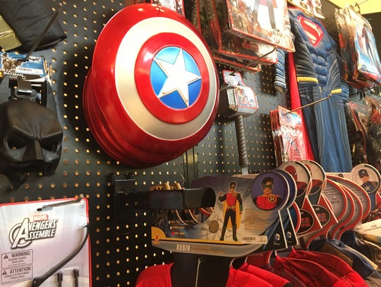 Superhero costumes, such as these at Spirit, are always