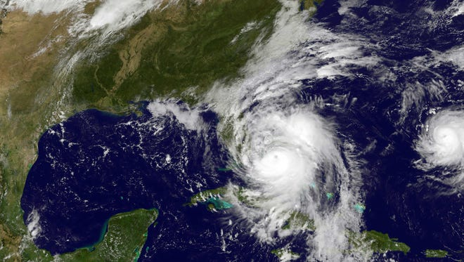This NOAA-NASA Goes East project satellite image shows Hurricane Matthew in the Caribbean in October as it approached the U.S.