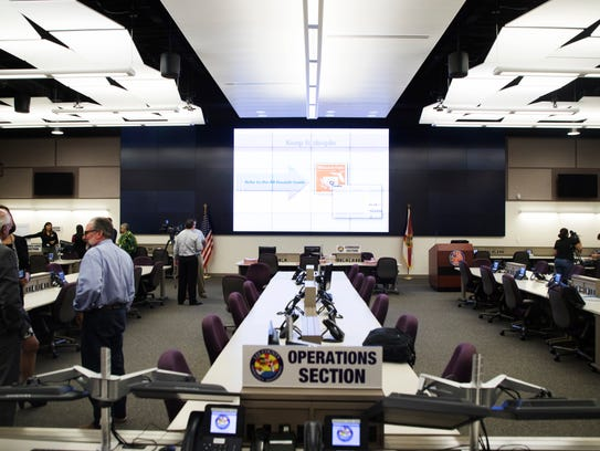 The situation room at the Lee County Emergency Operations