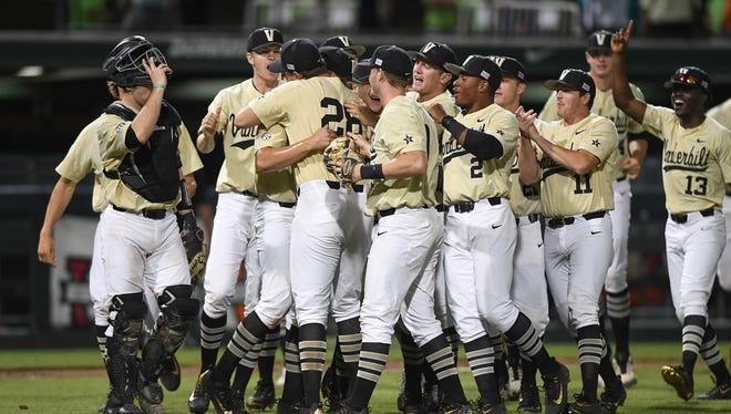 Vanderbilt celebrates after defeating Clemson to win an NCAA Regional on Monday, June 5, 2017, at Clemson's Doug Kingsmore Stadium.