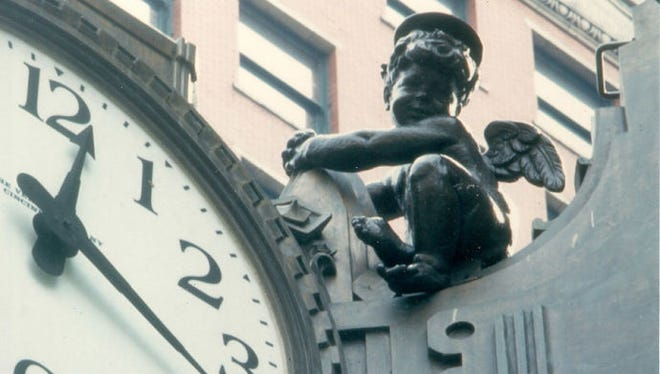 As legend has it, the whimsical Cherub mysteriously appeared above the clock on Thanksgiving Eve 1947 to keep a watchful eye on the holiday shoppers until Santa took over on Christmas Eve.