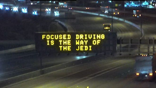 """The Arizona Department of Transportation's highway signs are feeling the Force on the opening day of """"Star Wars: The Last Jedi,"""" Dec. 15, 2017."""