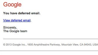 An example of a scam email purporting to be from Gmail.
