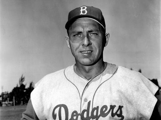 Gil Hodges of the Brooklyn Dodgers poses during spring training in Vero Beach, Fla., in March 1956.