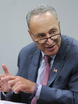 U.S. Sen. Charles Schumer meets with the Poughkeepsie Journal Editorial Board on Thursday in the Poughkeepsie Journal offices in the City of Poughkeepsie.