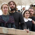 This photo provided by National Geographic Channels shows, Anna Camp, from left, as Dorothy Bradford, Vincent Kartheiser as William Bradford, Maria Vos as Elizabeth Winslow and Barry Sloane as Edward Winslow, onboard the Mayflower in National Geographic Channel's upcoming miniseries, 'Saints & Strangers,' premiering in fall 2015.