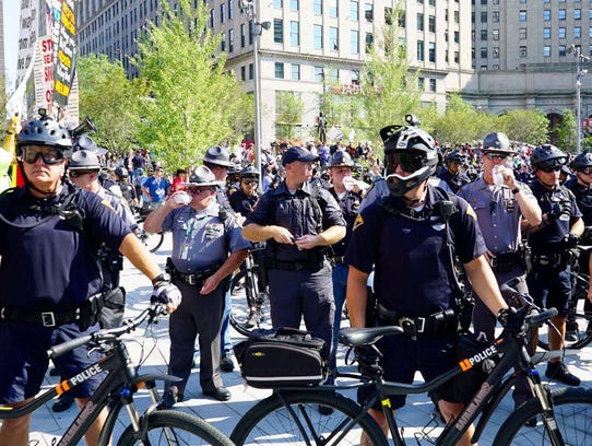 Police officers blocked protest groups from intermingling